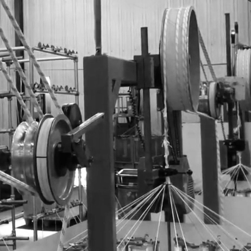 Our ropes are made in Malvern, England. The spinning process plaits the fibres around a Dyneema cord. It is noisy and totally mesmerising!