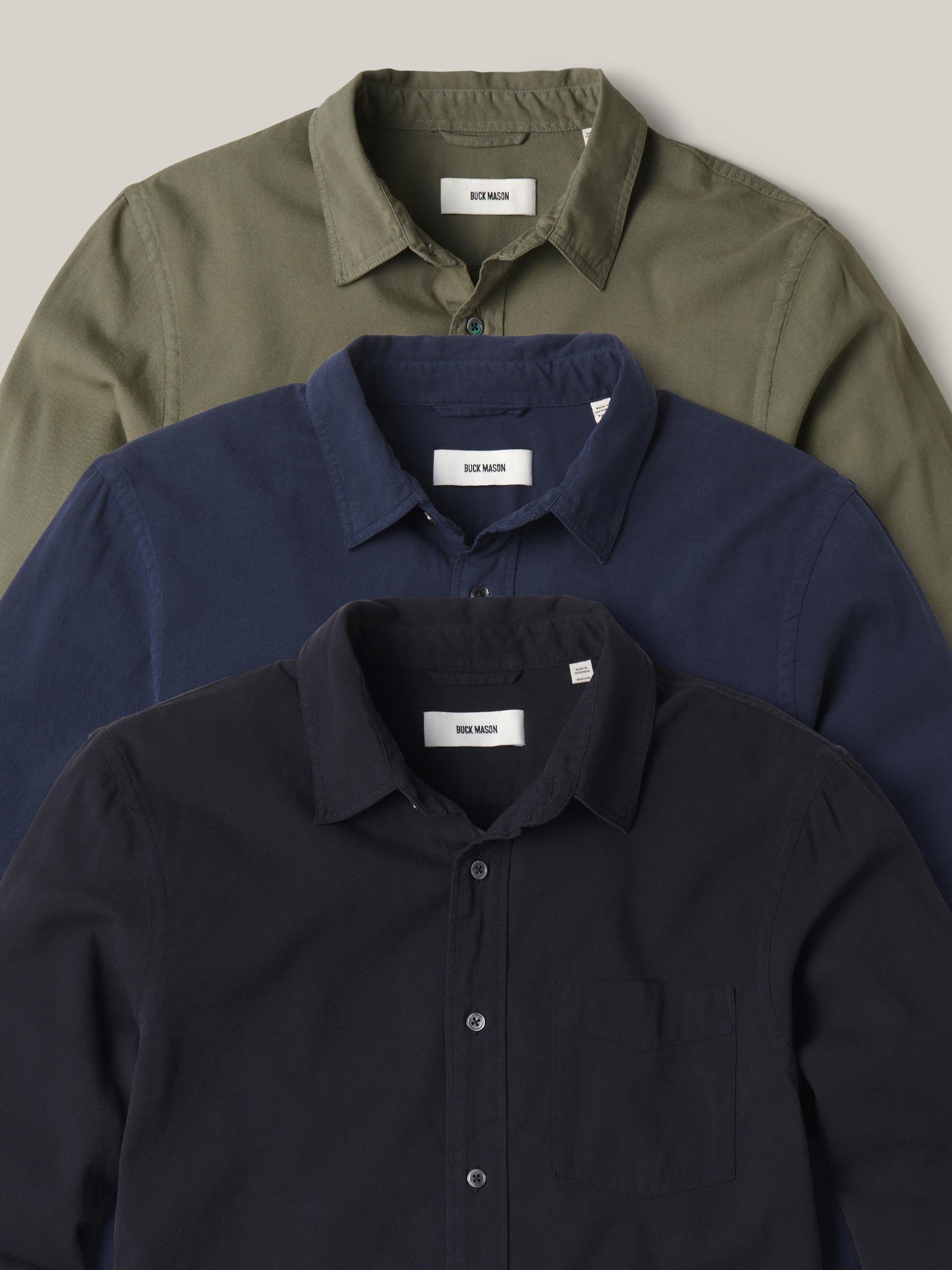 Buck Mason - Dark Marine Draped Twill One Pocket Shirt